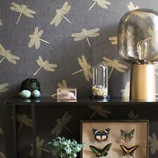 Tapete Grau Gold Libellen Metallic Natur Insekten Retro Anthrazit   Four Seasons