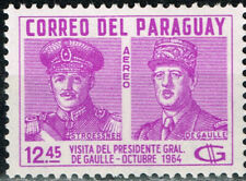 Paraguay President and military dictator Stroesner and De Goll stamp 1964 MLH