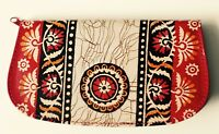 Hand PAINTED Batik pure LEATHER SHANTINIKETAN Clutch Women's Wallet Hippie Bag