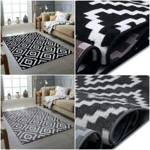 NEW Modern Geometric Trellis Grey Black White Soft Pile Rug Contemporary Carpet