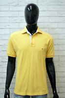 Polo TOMMY HILFIGER Maglia Size L Uomo Shirt Maglietta Manica Corta Hemd Giallo