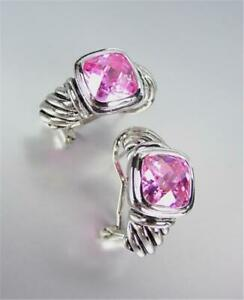 NEW 18kt White Gold Plated Cable Pink Topaz Crystal Omega Spring Latch Earrings