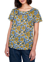 SEASALT BLUE Yellow Sketched Honeysuckle Top Organic Cotton PETITE RRP £40