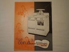 VINTAGE 1949 ODIN BEAUTYRANGE 1101 WHITE PORCELAIN OVEN ERIE PA ADVERTISING