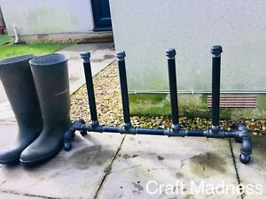 Welly Stand handmade from black industrial galvanised iron
