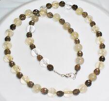 Edelsteinkette Rutilquarz u. fac. Rauchquarz ,48cm,925er Silber Federring