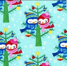 Christmas lovebirds snow,birds,tree, teal - Michael miller