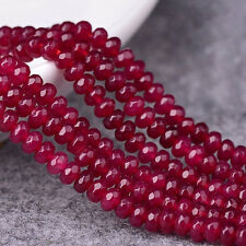 Luxury 4MM 3840cm Natural Brazilian Ruby Faceted Round Loose Beads-Gemstone