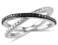 Black Diamond Criss Cross Ring in Sterling Silver