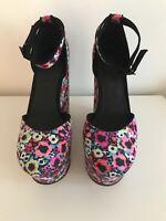 Fabulous Office London Size 39 UK 6 Floral Extreme Platform Slingback Shoes