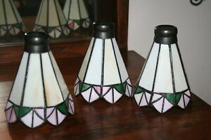 Set of 3 Vintage Tiffany Style Stained Glass Ceiling Fan Lamp Shades Globes