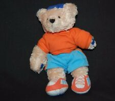"Tan Teddy Bear Orange Shirt Blue Shorts Cap Shoes Plush 8"" Plush land Lovey Toy"