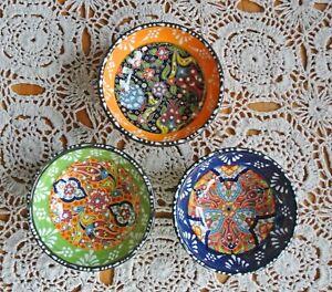 Set of 3 - Handmade Ceramic Bowls,10cm, Turkish Tile Colourful Floral Motifs