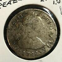 1788 LIMA  SPANISH AMERICA PERU SILVER 2 REALES  COIN