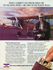 1986 Print Ad of VISA Premier Credit Card with James B Taylor Gates Learjet CEO