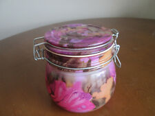 Painted Glass Canister Floral Design With Flip Top Wire Bale Lid