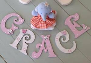 *ANY NAME & ANY COLOUR* Decorative Personalised Wooden Letters Painted #28#