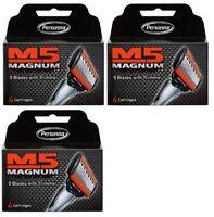 Personna M5 Magnum 5  Refill Razor Blade Cartridges, 12 Ct + Eyebrow Trimmer