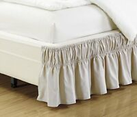 "Fancy Linen Elastic Bed Ruffles Bed-Skirt 14"" Drop Solid Beige All Sizes New"