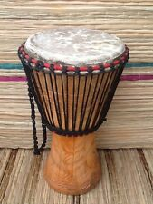 """Genuine African 11"""" Djembe drum with free drum hat and 2 free instruments"""