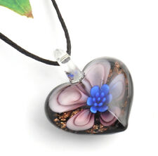 1pc flower love heart Lampwork Glass bead pendant Necklace p867_6