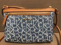 Calvin Klein Women's Monogram Logo Zip Top Swing Crossbody Bag, Denim Combo