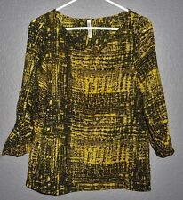 About Stylez Split Back Geometric Top 3/4 SLEEVE TOP/BLOUSE TULIP BACK SMALL EUC