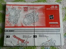 Transformers ENERGON INFERNO INSTRUCTION BOOKLET ONLY
