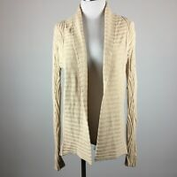 Kenar S Small Cardigan Sweater Cream Beige Open Front Ribbed Long Sleeve