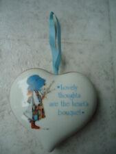 """Holly Hobby """"Blue Girl� White Heart Shaped Porcelain Pomander Potpourri Sachet 3"""