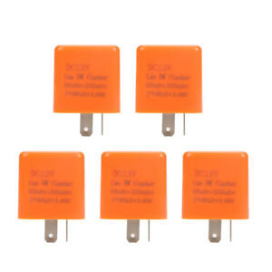 5pcs/set 12V 2Pin Motorcycle Blinker LED Flasher Relay Turn Signal Indicator NEW