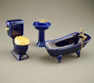 Reutter Porcelain - Dollhouse Miniature Blue Bathroom Set
