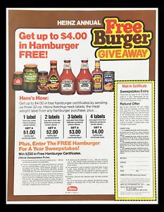 1984 Heinz Ketchup Annual Burger Giveaway Circular Coupon Advertisement