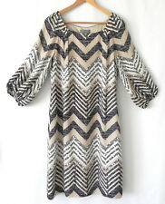 Eccoci Dress 100% Silk 3/4 Sleeve Multi-Color Size 10