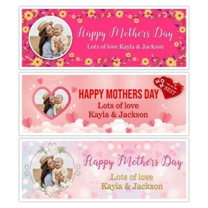 X 2 PERSONALISED MOTHERS DAY PINK HEART FLOWER BANNERS WALL DECORATIONS