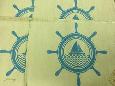 Set of 4 Nautical sailboat Wheel blue kitchen table Jute/polyester Placemats