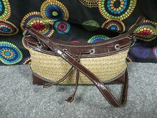 Crazy Horse by Liz Claiborne Woven Straw Look Shoulder Bag/Croc Design Trim