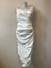 White Satin Wedding Dress Size M Le Chateau Fitted Ruched With Garment Bag