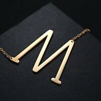 Big 26 Sideways Initial Pendants Necklaces Stainless Steel Jewelry For Women