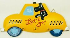 """Yellow Taxi Cab Dog Puppy Leash Holder Wall Hooks """"Lets Go"""" Walk 7.5"""" Plaque New"""