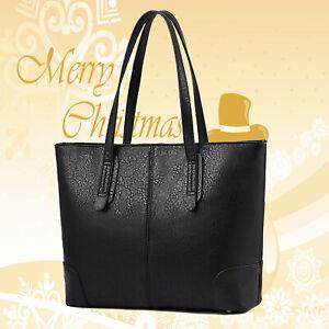 Schwarz Damentasche Leder Damen Handtasche Schultertasche Shopper Mädchen Tasche