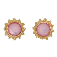 "Tone Flower Jewelry Stud Post Earrings 1/2"" Pink Round Stone Rhinestone Gold"