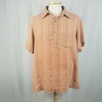 Tilley Mens XL Orange Stripe Camp Hiking Shirt Short Sleeve Hemp Blend
