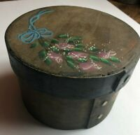 Antique Primitive Wood Pantry Box with Hand-painted Flowers Circa Late 1800s