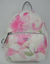 New GUESS White Blush Pink Multi Pandore Floral Flower Small Backpack Purse Bag