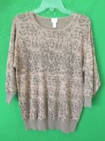 7661) CHICO'S 1 pullover brown gold shimmer sweater cotton blend animal print