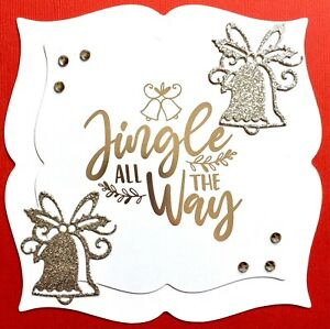 Handmade By Susie Silver Foiled on White Christmas Card Topper FLAT RATE UK P&P