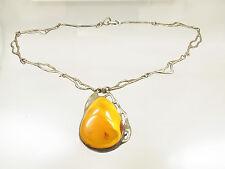 Gr. Jugendstil Butterscotch Egg Yolk Amber Bernstein Collier 925 Silber 86 Gramm