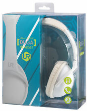 ULTRA COMFORT LIGHTWEIGHT URBAN REVOLT WHITE DUGA FOLDABLE HEADSET + IN-LINE MIC