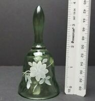 "FENTON ? Green Swirl Hand Painted White Flowers 4"" BELL Willow Artist Signed"